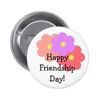 Día feliz floral de la amistad pin redondo 5 cm