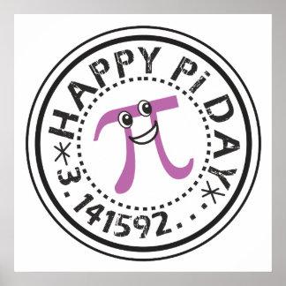 Día feliz lindo del pi - pi divertido póster