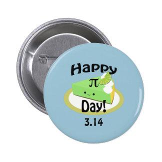 Día feliz lindo del pi pin redondo de 2 pulgadas
