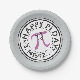 Día feliz lindo del pi plato de papel de 7 pulgadas