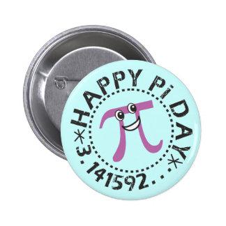 Día feliz lindo del pi - regalo usable del día del pin redondo de 2 pulgadas