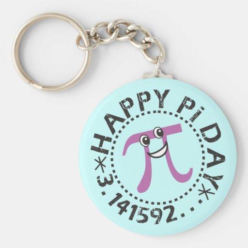Día feliz lindo del pi - regalos del día de la div llavero personalizado