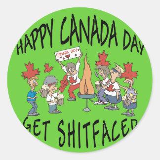Día feliz muy divertido de Canadá Etiqueta Redonda