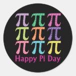Día feliz Tiles.png colorido del pi Pegatinas Redondas