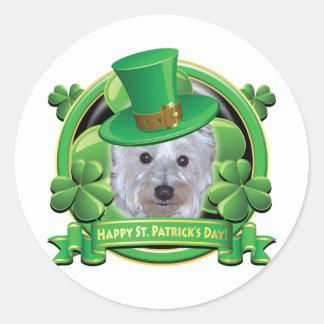 Día feliz Westie del St Patricks Pegatinas