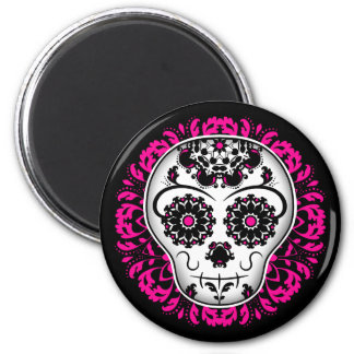 Día femenino del cráneo muerto del azúcar imán redondo 5 cm