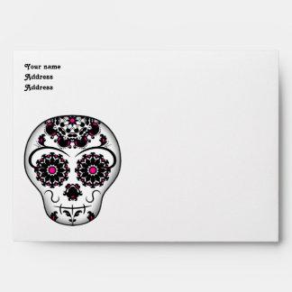 Día femenino del cráneo muerto del azúcar para 5x7 sobre