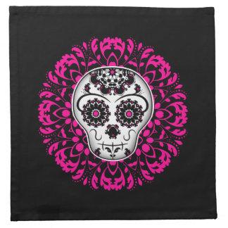 Día femenino del cráneo muerto del azúcar servilleta imprimida