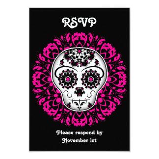 """Día femenino del fiesta muerto de RSVP del cráneo Invitación 3.5"""" X 5"""""""