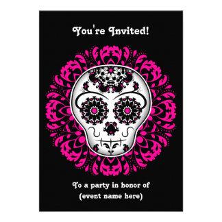 Día femenino del fiesta muerto del cráneo 5x7 del