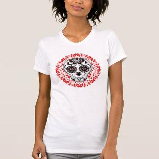 Día femenino del lindo estupendo del cráneo muerto camiseta