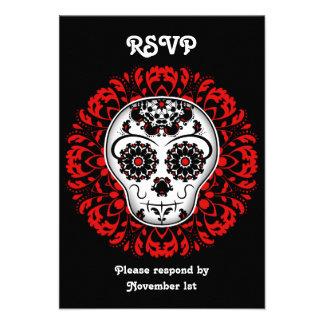 Día femenino del rojo muerto del fiesta de RSVP de
