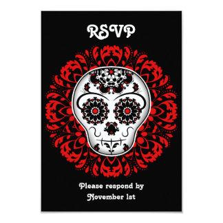 """Día femenino del rojo muerto del fiesta de RSVP Invitación 3.5"""" X 5"""""""