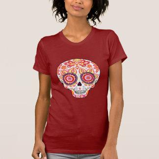 Día femenino lindo de la camisa muerta del cráneo