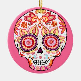 Día femenino lindo del ornamento muerto del cráneo adorno navideño redondo de cerámica