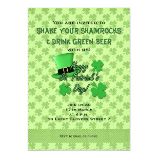 """Día fresco del St. Patricks de los tréboles del Invitación 5"""" X 7"""""""