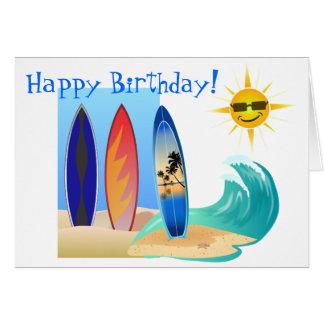 Día fresco en el cumpleaños de la tabla hawaiana d felicitacion