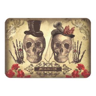 Día gótico de los cráneos de las tarjetas muertas invitación 8,9 x 12,7 cm