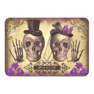 """Día gótico de los cráneos de las tarjetas muertas invitación 3.5"""" x 5"""""""