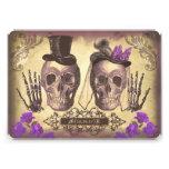 Día gótico de los pares del cráneo de la púrpura m invitación