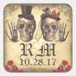 Día gótico de los pares del cráneo de pegatinas pegatina cuadrada