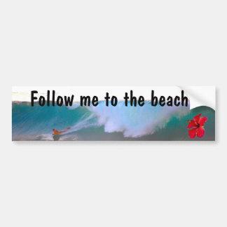 Día grande de la playa de la onda pegatina de parachoque