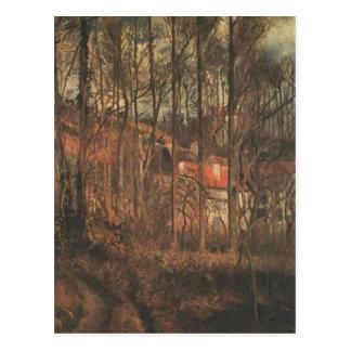 Día gris de Camilo Pissarro-, bancos del Oise Tarjeta Postal