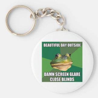 Día hermoso de la rana asquerosa del soltero llavero redondo tipo pin