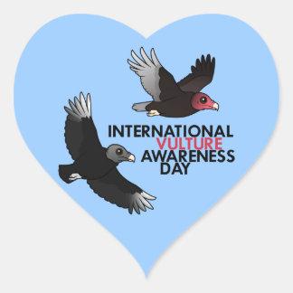 Día internacional de la conciencia del buitre pegatina en forma de corazón