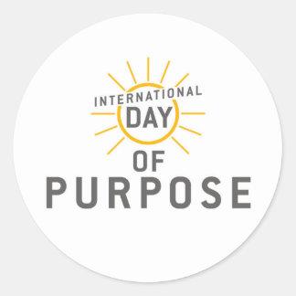 ¡Día internacional de pegatinas del propósito! Pegatina Redonda
