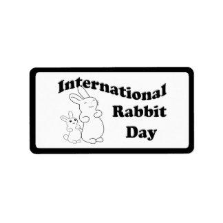 Día internacional del conejo etiquetas de dirección