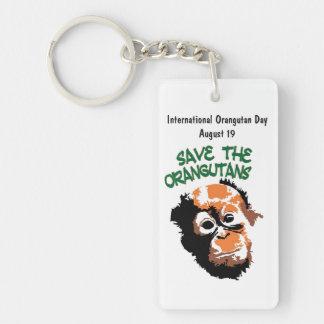 Día internacional del orangután llavero rectangular acrílico a doble cara