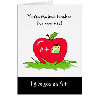 Día lindo Apple del aprecio del profesor para el Tarjeta De Felicitación