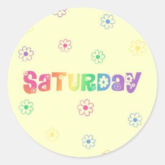 Día lindo de la semana sábado pegatina redonda