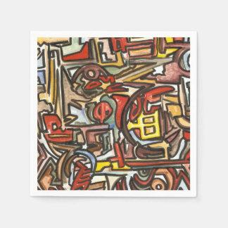Día lluvioso - arte moderno de la acuarela y de la servilletas desechables