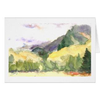 Día lluvioso de la caída en las colinas del tarjeta de felicitación
