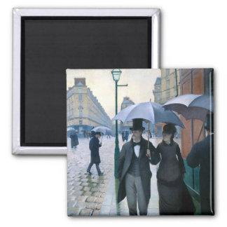 Día lluvioso de la calle de París de Gustave Caill Imán Cuadrado
