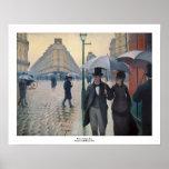 Día lluvioso de la calle de París de Gustave Caill Póster
