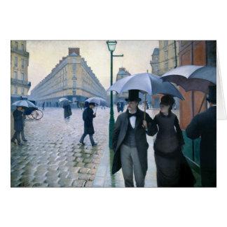 Día lluvioso de la calle de París de Gustave Caill Tarjeta De Felicitación