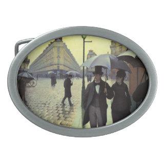 Día lluvioso de la calle de París de Gustave Hebillas De Cinturón Ovales