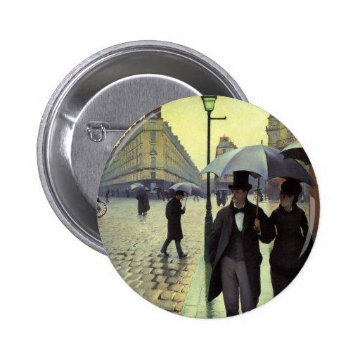 Día lluvioso de la calle de París de Gustave Pin Redondo De 2 Pulgadas
