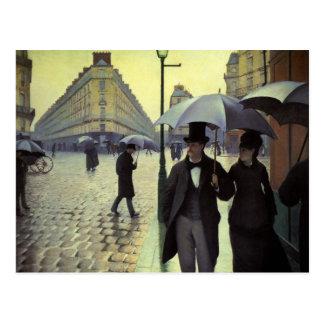 Día lluvioso de la calle de París de Gustave Postales