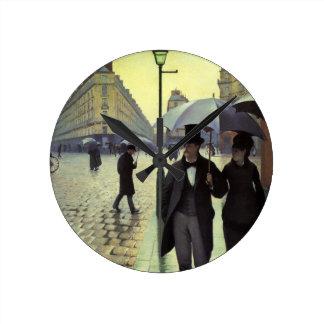 Día lluvioso de la calle de París de Gustave Reloj Redondo Mediano