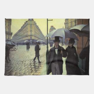 Día lluvioso de la calle de París de Gustave Toalla De Cocina