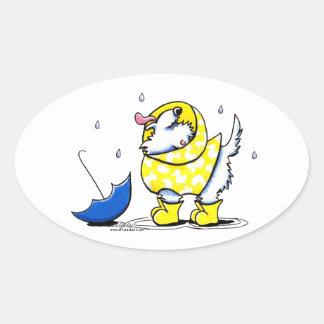 Día lluvioso de Westie Pegatina Ovalada