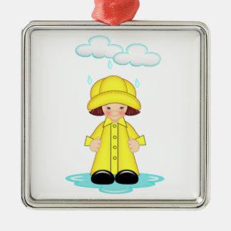 Día lluvioso adorno cuadrado plateado