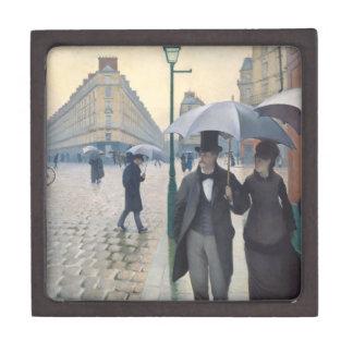 Día lluvioso del impresionismo de la calle caja de recuerdo de calidad