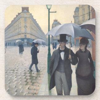 Día lluvioso del impresionismo de la calle posavasos de bebida