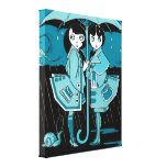Día lluvioso en azul lona envuelta para galerias