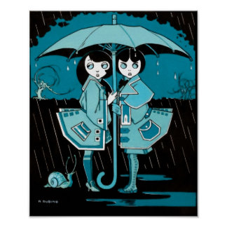 Día lluvioso en azul póster